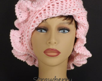 Soft Pink Cloche Hat, Soft Pink Womens Crochet Hat, Crochet Womens Hat 1920s, Soft Pink Hat, Cynthia Hat, 1920s Cloche Hat with Ruffle