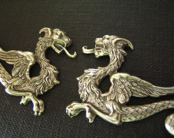 2 Pc large Asian Style dragon Stampings in Oxidized sterling silver plated Brass