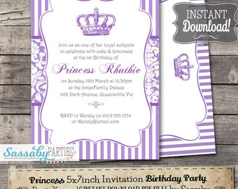 Princess Purple Party Invitation - INSTANT DOWNLOAD - Editable & Printable Royal Birthday Invite by Sassaby Parties