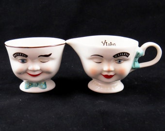 """Sale! Vintage BAILEY'S """"YUM CUPS"""" Sugar Bowl and Creamer Set / His & Hers Faces 1986 / Great Christmas Gift / Housewarming or Birthday Gift"""
