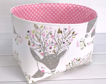 Woodland Nursery Baby Girl Nursery Decor Woodland Storage Basket Home Decor Baby Room Decor Deer Bucks Fawn Pink