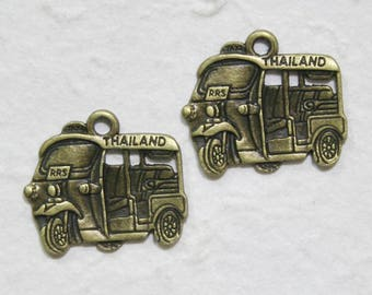 2 pcs • 32x28 mm • Thai Tuk Tuk Taxi Brass Charms