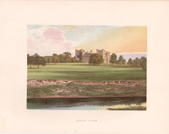 """Antique Woodblock Print - """"Lumley Castle""""  - 1880 English Country House - Home Decor Print to Frame, Stately Home, Durham, England"""