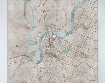 Map of Memphis large canvas city maps watercolor map