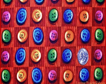 "Springs Buttons Sewing Theme Notions Cotton Fabric 1/2 Yd 18"" X 44"""