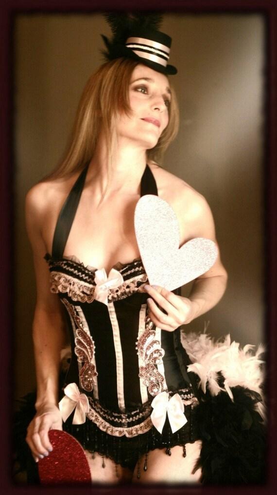 BARRYMORE Sexy pink & black Burlesque Corset dress for Saloon Girl dance costume