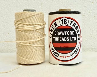 5m Irish Linen Thread 4-ply, Natural or Black, Crawford Waxed thread, Linen Cord