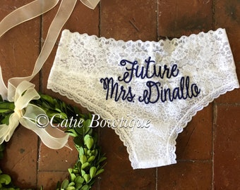 Future Mrs.  /Bridal Monogram Cheeky Panties/ wedding something blue underwear/ custom white lace cheeky/ Mrs / Bride/ bride gift/ bridal