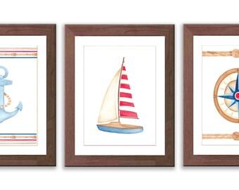 Boy Nursery Art - Nautical Nursery Art - Watercolor Boat Print - Baby Boy Nursery Decor - Compas - Sail Boat - Anchor - S013W