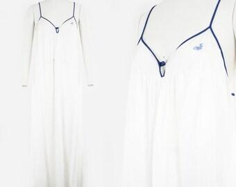 Vintage White & Blue Slip - Diane Von Furstenberg - V - Neck  - Lingerie - Night Wear - Lounge Wear - Night Gown - Medium