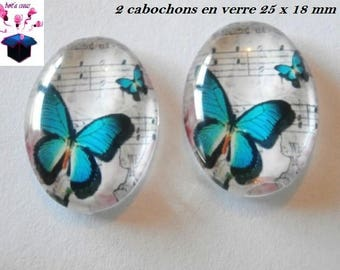 2 cabochons glass 25mm x 18mm Butterfly theme