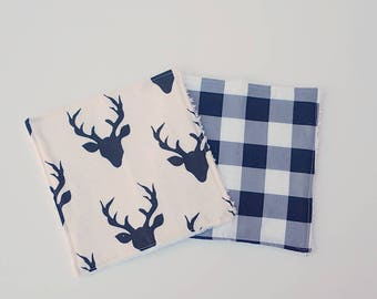 White And Black Deer washcloths- set of 2, baby shower gift boy, reusable wipes, cloth wipes, wash cloths, bath accessories, woodland baby