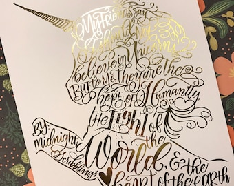 Unicorn foiled print