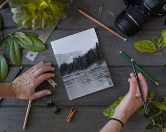 Laminate Notebook / Journal, Black and White Coll Frozen Lake Tahoe, Sketch Notebook, Writer's Notebook.