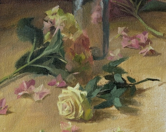 Still Life with Roses, Original Oil Painting, Framed, Ling Strube