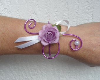Bracelet flowers for wedding - purple and white - pink artificial
