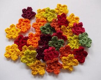 30 miniature flowers in 10 colors-crochet