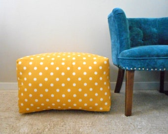 Square Pouf Yellow Polka dot, Indoor Outdoor Fabric, Large Pillow, Ottoman, Box cushion