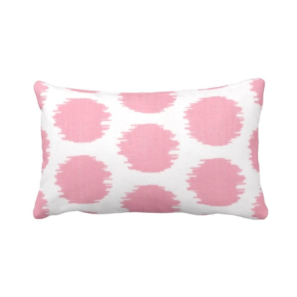 a47b043e19 Ikat Dot Print Throw Pillow/Cover, Pink/White 14 x 20 Lumbar OUTDOOR,  INDOOR Pillows/Covers, Light/Pastel Circles/Geometric/Geo/Large/Boho