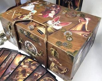 Steampunk Tarot, Steampunk Box, Handmade Tarot, Tarot Box, Tarot Card Box, Large Wood Box, Keepsake Box, Divination, Fortune Box, Ornate Box