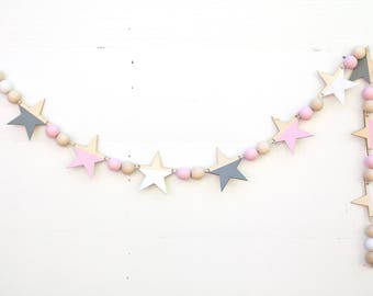 Wooden Star Garland Pink, Wood Bead Garland, Nursery Decoration