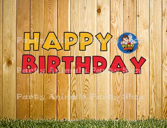 Happy Birthday Feliz Cumpleaños Bon Anniversaire ~ Printable yokai watch happy birthday letter banner instant