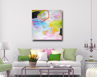 Large Abstract Print, Giclee Print, Wall Art, Canvas Print from Painting, Expressive Canvas Art, Colorful Painting Print, Green, Blue, Pink