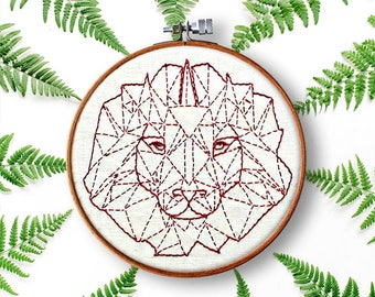 lion embroidery pattern pdf kid's room diy decoration nursery diy wall art