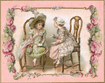 Large digital download Victorian Tea Party  pink roses BUY 3 get one FREE ecs svfteam