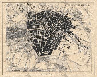 Vintage map of Berlin  Instant Download image printable picture  for scrapbooking, decor,  prints, etc HQ 300dpi