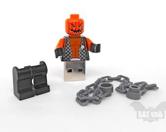 Evil usb flash drive 8/16/32/64GB - Memory Stick - Lego® original Minifigure - Halloween Evil Pumpkin Jack O' Lantern chain - With legs cap