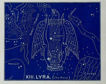 "1928.Astronomy.Antique print.Astrology.Zodiac""The witness of the stars"".LYRA,the harp.Constellations.Astronomy print.5.8x9 "",15x23 cm"
