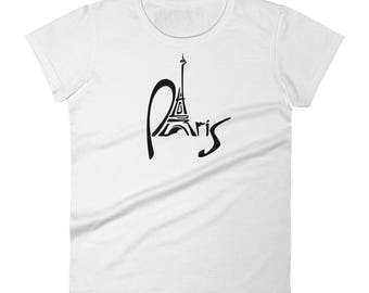 Paris France Women's short sleeve t-shirt. Fun Europe Vacation Souvenir Top For Adults Women & Kids