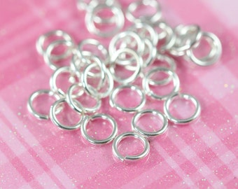 6mm Sterling Silver Open Jump Rings 20 Gauge, 25 pcs Bulk Jumprings, 925 Sterling Silver