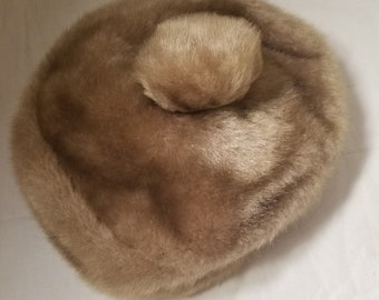 Vintage Taupe Fuzzy Hat with Pom Pom No Label 7""