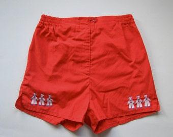 Short rouge Vintage enfant unisexe nautique marin court Short Shorts Vintage brodé élastique à la taille pour enfant Short Shorts garçon Shorts filles
