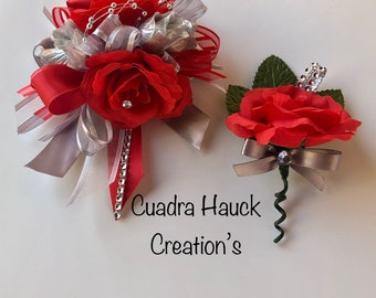 Red and silver gold corsage/ Prom corsage/ Grad wrist corsage/ wrist corsage