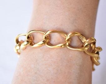 "Vintage Chunky Curb Chain Bracelet Geometric Minimalist Gold Tone Boho Retro Costume Jewelry 8"""