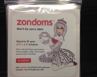 """zondoms™ (50) clear poly sleeves for zentangle® tiles artwork or any 3.5"""" x 3.5"""" artwork"""
