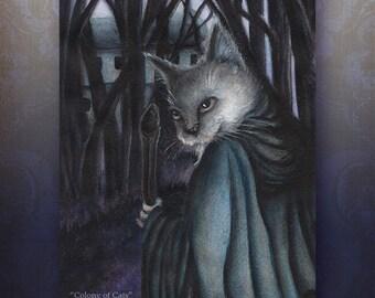Fairytale Cat Art, Old Grey Cat Traveler Illustration 5x7 Archival Print