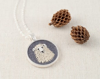 Sheep Necklace - Sheep Jewelry - Dolly the Sheep Embroidered Wool Felt Necklace - Animal Portrait - Pendant - Silver Plate - Grey