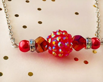 Bar Necklace, Red Iridescent Beaded Bar Necklace, jewelry gifts under 20 dollars