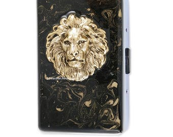 Lion Head Metal Cigarette Case Inlaid in Hand Painted Enamel Neoclassic Inspired Metal Wallet Engraved and Personalized Options