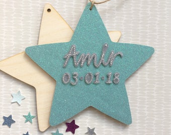 Large new baby star- birth announcement, large wooden star, nursery decor, wooden star, new baby
