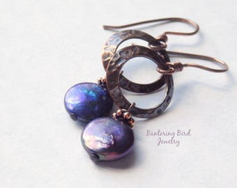 Navy Blue Coin Pearl Earrings, Hammered Copper Circles with Freshwater Pearl Dangle, June Birthstone, Boho Chic Rustic Copper Jewelry