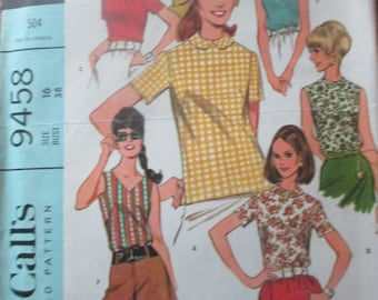 Vintage McCalls Blouse Top Pattern