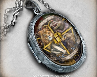Locket Harry Necklace / Welcome Home / Antique Locket / Nerd Gifts / Nerdy / Wizard / Witch / Magic / Magical / Wizardry / School of / HP