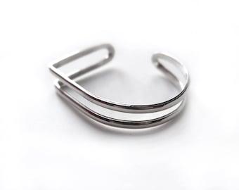 ANGLE & CURVE Bracelet en argent massif / Courbe et Angle / Fait main