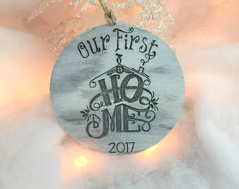 Our First Home Ornament, First Home, Christmas Ornament, Personalized Ornament, Wooden Ornament, Stocking Stuffer, Gift for Friends, Gift