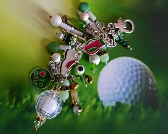 """Charm Fob Clip-on inspired by the  love of """"GOLF!"""" A beautiful Med size Fob with a Golf Theme that will make a Hole In One on your handbag!"""